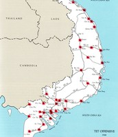 Map of Cities and Bases attacked by the Vietcong