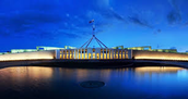 Parliament House at night,