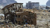 Homes/ buildings destroyed by a tsunami