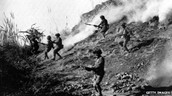 Indian soldiers attacking Pakistan troops.