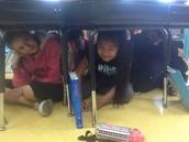 Under desks