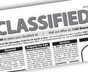 Looking for Classified Ads for Bulletin Board