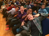 Boys from Mrs. Judd's class ham it up for the camera as they wait for the Symphony to play.