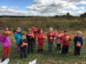 The afternoon class at the pumpkin patch