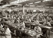 Women Working at fabrics.