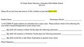 6TH GRADE BAND REGISTRATION