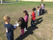 """We're studying sun!"" Kindergarten Panthers from Ms. Johnson's class doing some outdoor learning!"