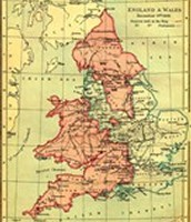 Map of England during the early 1600s