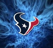 The logo of the Texans with blue fire behind it