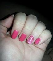 Semipermanente rosa con Nail art flower
