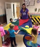 Parachute play with Miss Rosanna