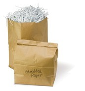 Shredded paper in paper bag