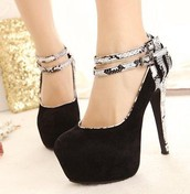 Black High Heels with Animal Print