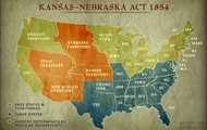 Map of the U.S After Kansas-Nebraska act is put in play