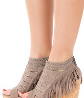 TAUPE STUDDED CUT OUT FRINGE WEDGE