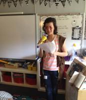 Katie--my daughter sharing a poem--snap, snap