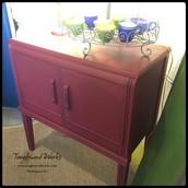 $165 - Regal Red Chalk Painted 2-Door Cabinet