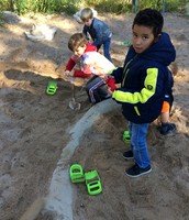 Our first graders having fun at the Nature Center