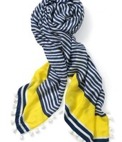 Westwood Tassel Scarf Navy/White/Electric Yellow
