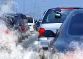 Cars producing pollution