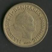 10 Taani krooni, esikülg, sellel on kujutatud kuninganna portree