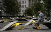Soldier at the 9/11 Pentagon Memorial