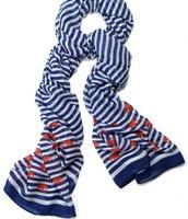 Palm Springs scarf, navy stripe elephant