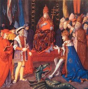 Henry with Charles V and Pope Leo X