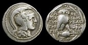 Two Athenian coins.