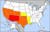 this is a red, orange, and yellow map