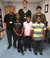 Mentors James Lott, Spencer Borschke & Alan Stene with 4th graders Prince Will Ullman, Kamrin Best and Tyson Owens