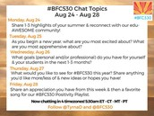 The #BFC530 Twitter Chat is Back Monday!