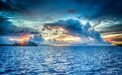 ocean  off the coast of bora bora