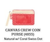 Canvas Crew Coin Purse in Natural with Coral Swiss Dot