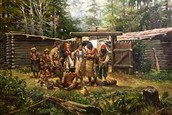 Clatsop Indians in the winter fort.