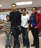 Jesus Olivares (student) with his Mentor Joseph Avila (Samsung), Mayra Hernandez CIS Manager, and Ms. Zavala, Teacher