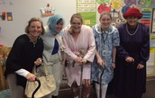 The first grade teachers dress up and encouraged students to dress like they were 100 years old for the 100th day of school.