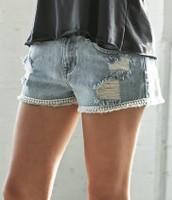 Bullhead Denim co. low rise fray crochet shorts