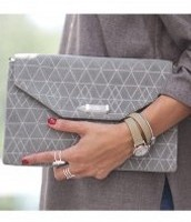 CITY SLIM CLUTCH - SLATE GREY/GEO METALLIC