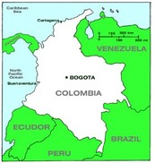 What is the capital of Colombia and what are the cities  and countries nearby?