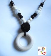 Black and white wooden crochet teether