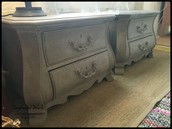 Ornate Gray Chalk-Paint Nightstands (pair) - $250