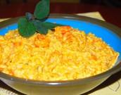 El nuez blanca squash risotto