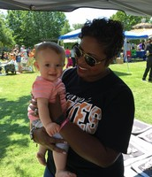 Ms. Thompson and sweet Elizabeth, another staff kid!