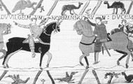 Tapestry of William 1 at the Battle of Hastings