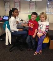 Kelsee mentoring in the Kindergarten classroom