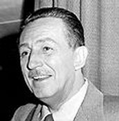 A portrait of Walt Disney.