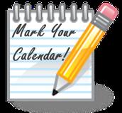 Please Mark Your Calendars