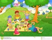 The children having a picnic