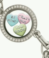 Link Locket Bracelet with Conversation Hearts